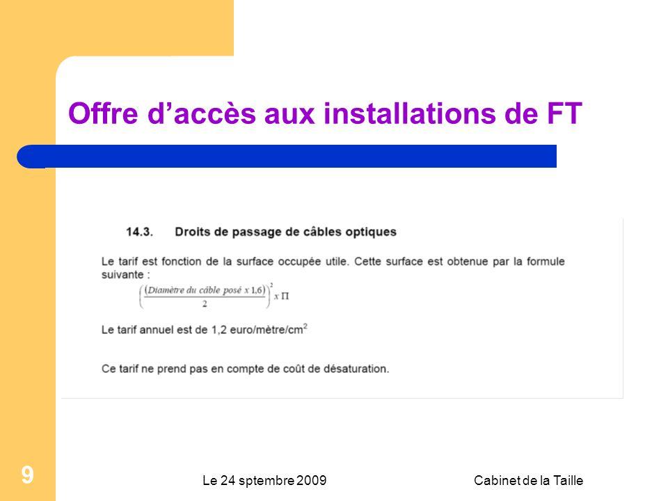 Le 24 sptembre 2009Cabinet de la Taille 9 Offre daccès aux installations de FT