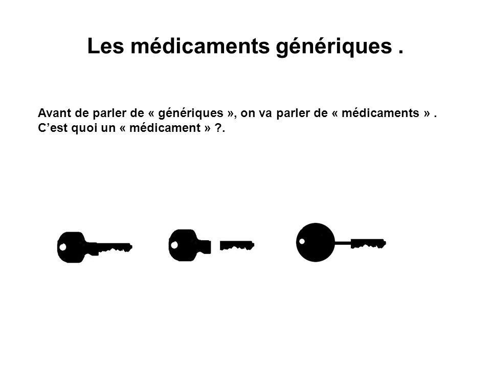 Les médicaments génériques. Avant de parler de « génériques », on va parler de « médicaments ». Cest quoi un « médicament » ?.