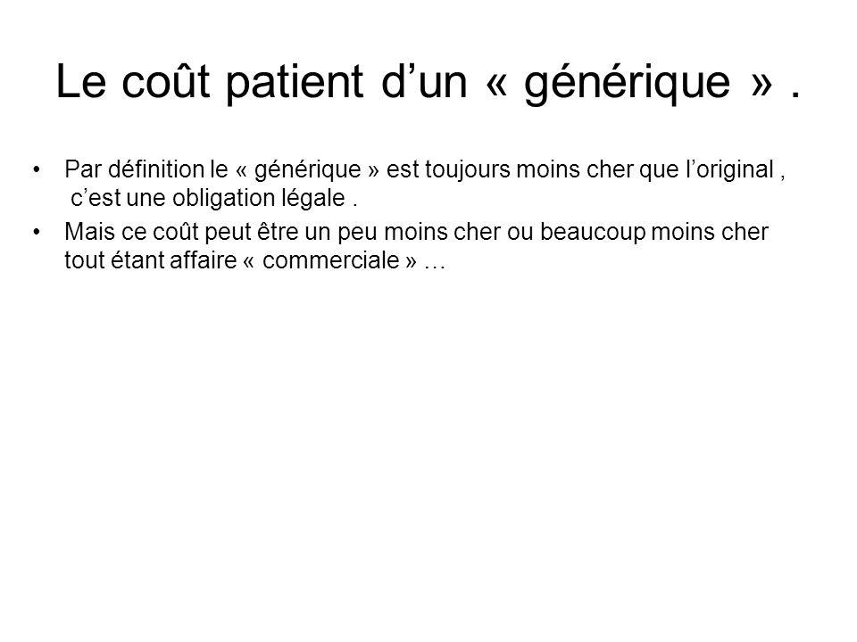 Le coût patient dun « générique ». Par définition le « générique » est toujours moins cher que loriginal, cest une obligation légale. Mais ce coût peu