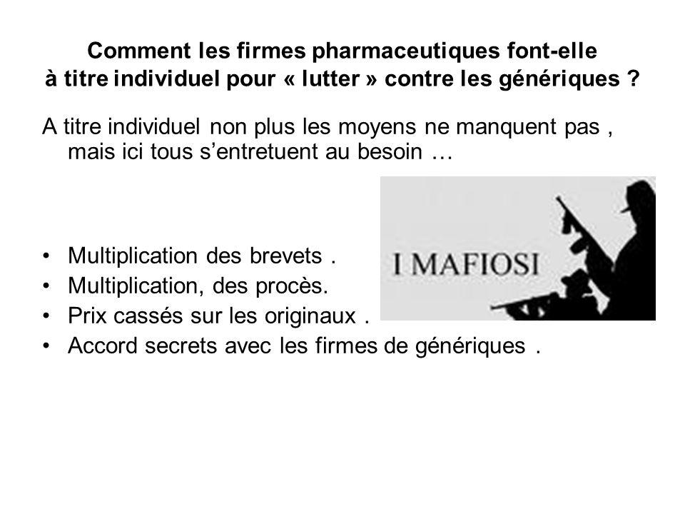 Comment les firmes pharmaceutiques font-elle à titre individuel pour « lutter » contre les génériques ? A titre individuel non plus les moyens ne manq