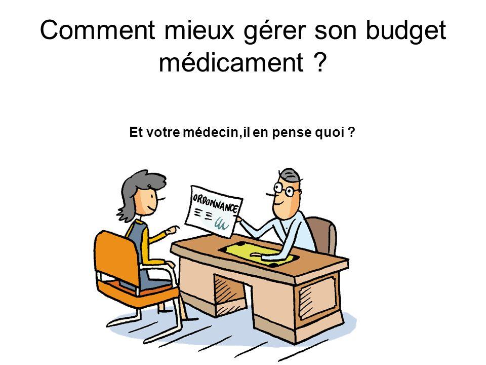 Comment mieux gérer son budget médicament ? Et votre médecin,il en pense quoi ?