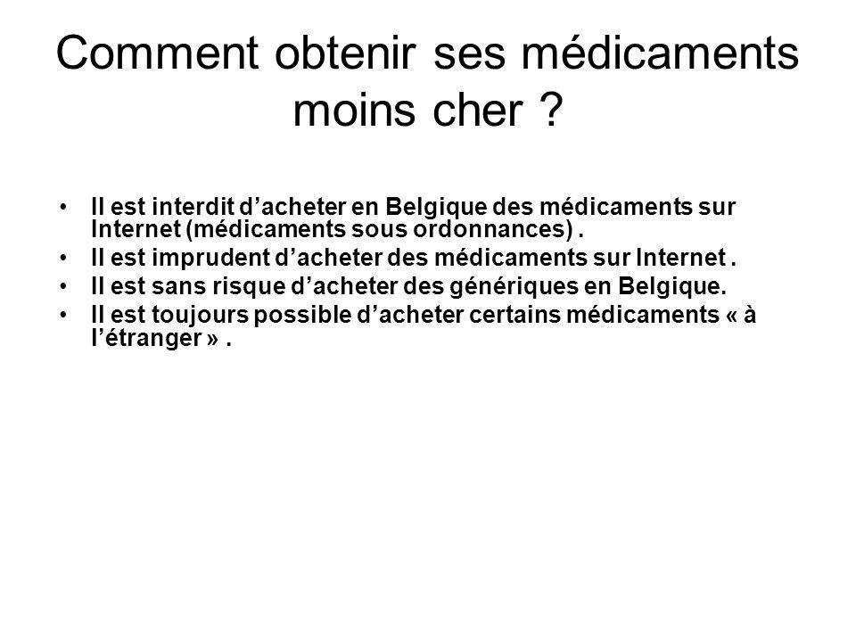 Comment obtenir ses médicaments moins cher ? Il est interdit dacheter en Belgique des médicaments sur Internet (médicaments sous ordonnances). Il est