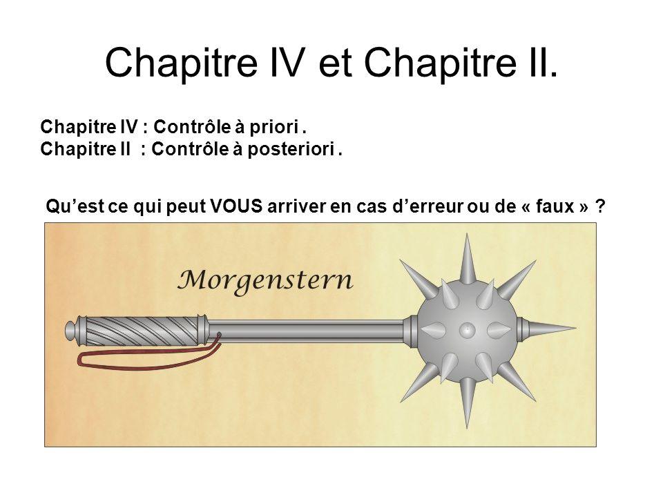Chapitre IV et Chapitre II. Chapitre IV : Contrôle à priori. Chapitre II : Contrôle à posteriori. Quest ce qui peut VOUS arriver en cas derreur ou de