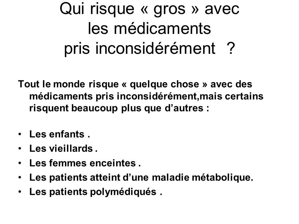 Qui risque « gros » avec les médicaments pris inconsidérément ? Tout le monde risque « quelque chose » avec des médicaments pris inconsidérément,mais