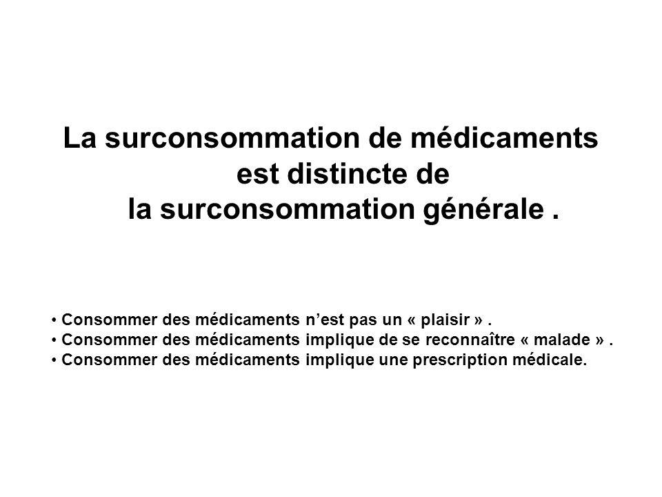 La surconsommation de médicaments est distincte de la surconsommation générale. Consommer des médicaments nest pas un « plaisir ». Consommer des médic