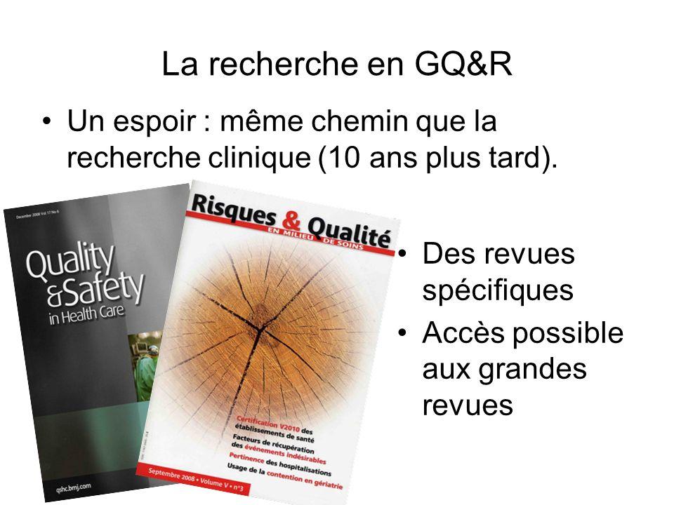 La recherche en GQ&R Un espoir : même chemin que la recherche clinique (10 ans plus tard). Des revues spécifiques Accès possible aux grandes revues
