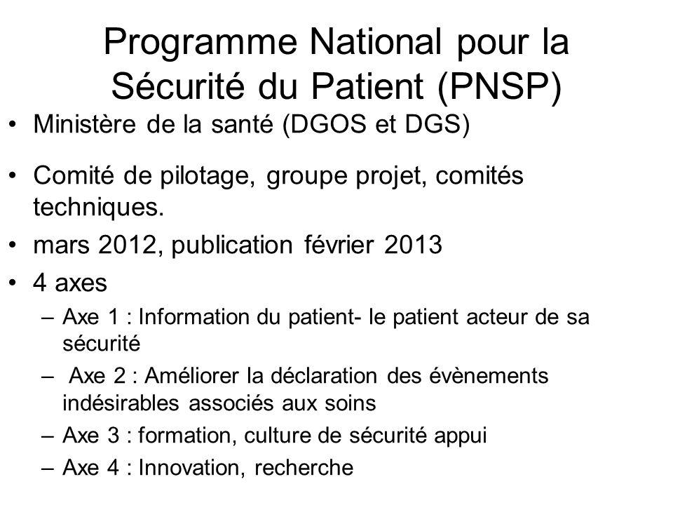 Programme National pour la Sécurité du Patient (PNSP) Ministère de la santé (DGOS et DGS) Comité de pilotage, groupe projet, comités techniques. mars