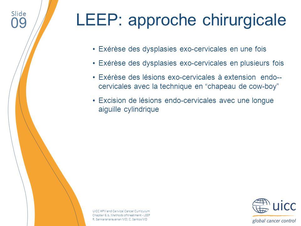 UICC HPV and Cervical Cancer Curriculum Chapter 6.b. Methods of treatment - LEEP R. Sankaranarayanan MD; C. Santos MD Slide 09 LEEP: approche chirurgi