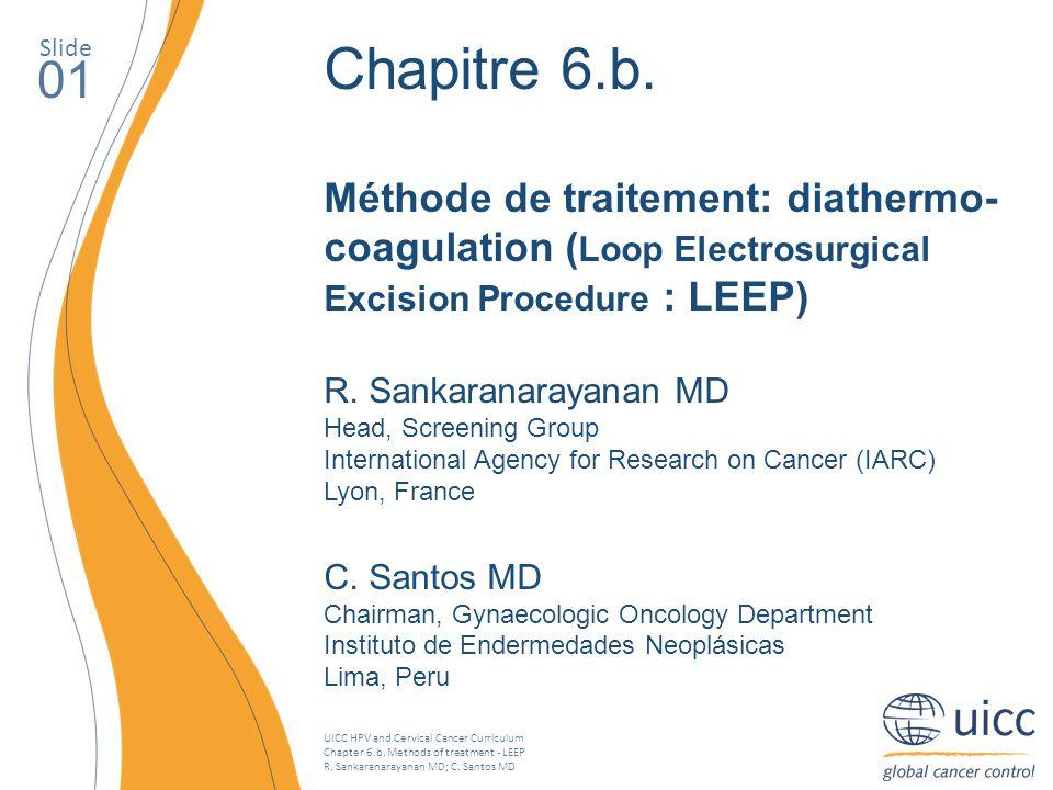 UICC HPV and Cervical Cancer Curriculum Chapter 6.b. Methods of treatment - LEEP R. Sankaranarayanan MD; C. Santos MD Slide 01 Chapitre 6.b. Méthode d