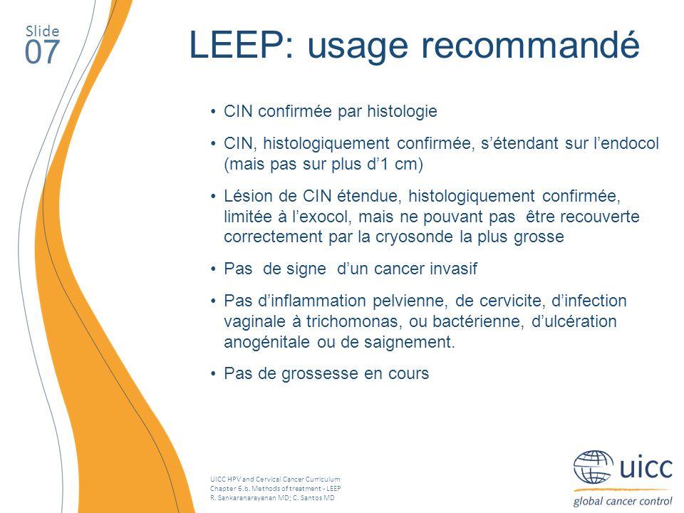 UICC HPV and Cervical Cancer Curriculum Chapter 6.b. Methods of treatment - LEEP R. Sankaranarayanan MD; C. Santos MD Slide 07 LEEP: usage recommandé