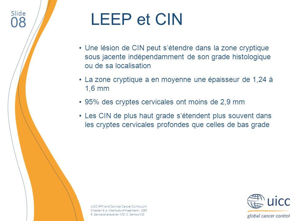 UICC HPV and Cervical Cancer Curriculum Chapter 6.b. Methods of treatment - LEEP R. Sankaranarayanan MD; C. Santos MD Une lésion de CIN peut sétendre