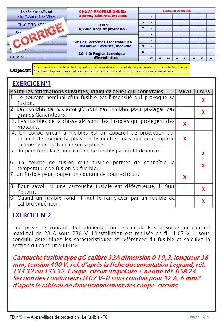 Page: 3/ 5 TD n°9-1 – Appareillage de protection : Le fusible - FC Objectif: décoder la documentation technique et normative relative à l'appareil éle