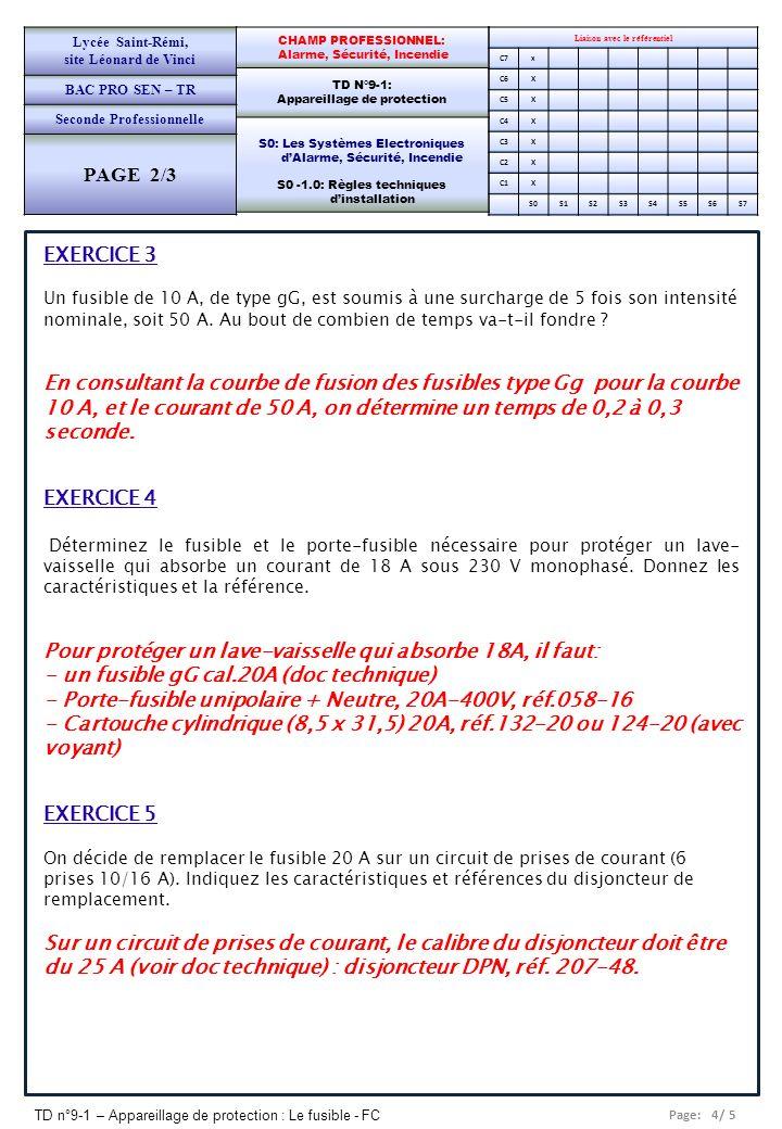 Page: 4/ 5 TD n°9-1 – Appareillage de protection : Le fusible - FC Liaison avec le référentiel C7x C6X C5X C4X C3X C2X C1X S0S1S2S3S4S5S6S7 CHAMP PROF