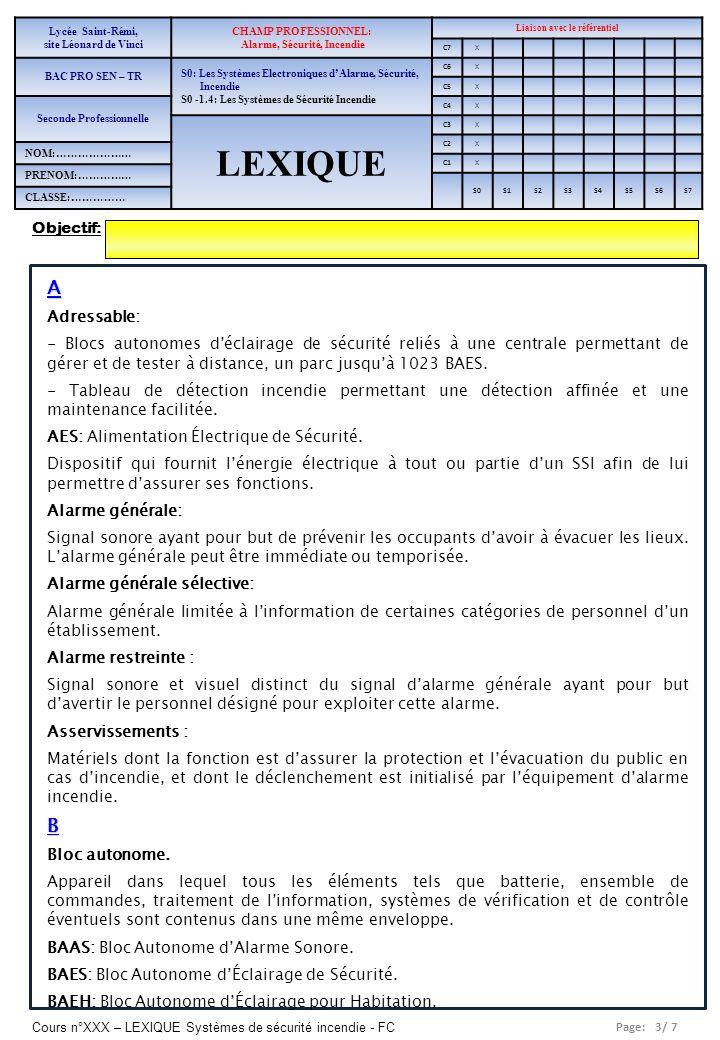 Page: 3/ 7 Cours n°XXX – LEXIQUE Systèmes de sécurité incendie - FC Objectif: Lycée Saint-Rémi, site Léonard de Vinci CHAMP PROFESSIONNEL: Alarme, Séc