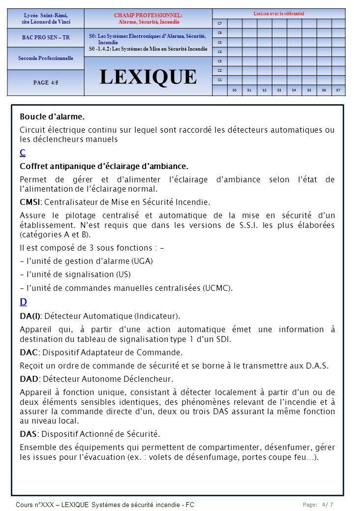 Page: 4/ 7 Cours n°XXX – LEXIQUE Systèmes de sécurité incendie - FC Lycée Saint-Rémi, site Léonard de Vinci CHAMP PROFESSIONNEL: Alarme, Sécurité, Inc