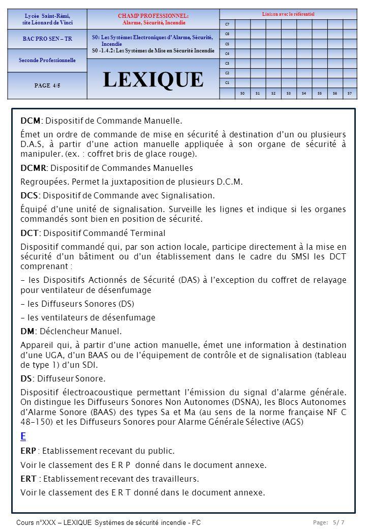 Page: 5/ 7 Cours n°XXX – LEXIQUE Systèmes de sécurité incendie - FC Lycée Saint-Rémi, site Léonard de Vinci CHAMP PROFESSIONNEL: Alarme, Sécurité, Inc