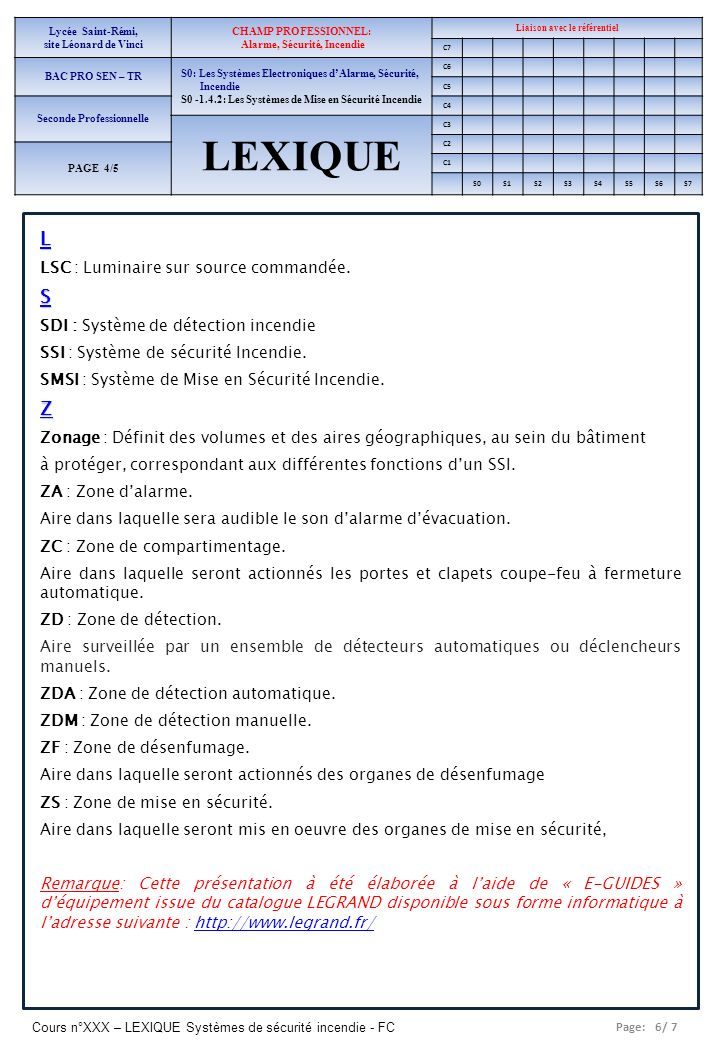 Page: 6/ 7 Cours n°XXX – LEXIQUE Systèmes de sécurité incendie - FC Lycée Saint-Rémi, site Léonard de Vinci CHAMP PROFESSIONNEL: Alarme, Sécurité, Inc