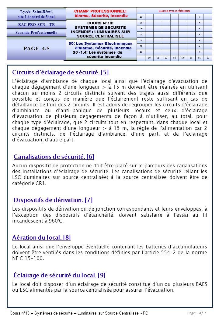 Page: 4/ 7 Cours n°13 – Systèmes de sécurité – Luminaires sur Source Centralisée - FC Liaison avec le référentiel C7x C6X C5X C4X C3X C2X C1X S0S1S2S3