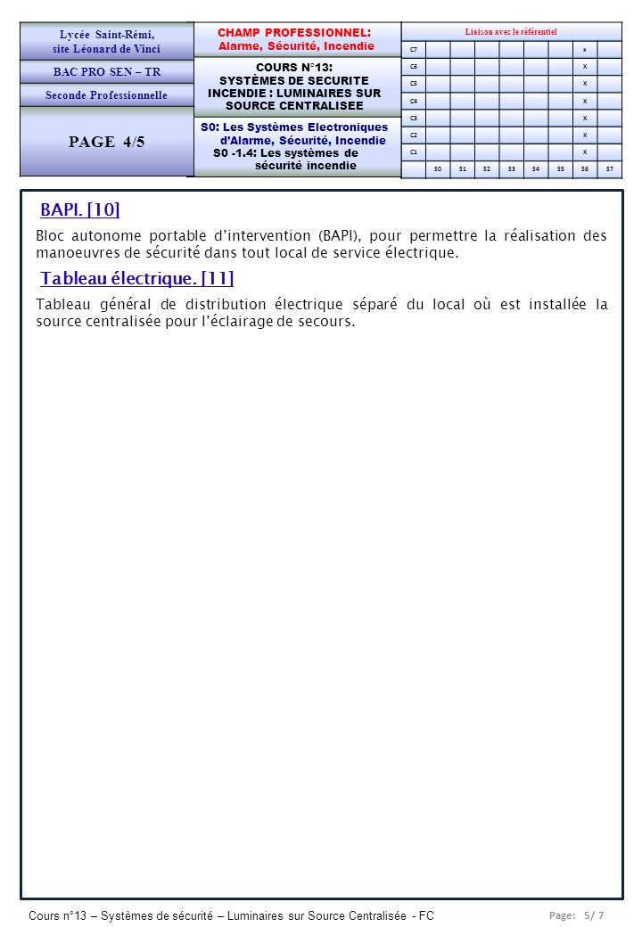 Page: 5/ 7 Cours n°13 – Systèmes de sécurité – Luminaires sur Source Centralisée - FC Liaison avec le référentiel C7x C6X C5X C4X C3X C2X C1X S0S1S2S3