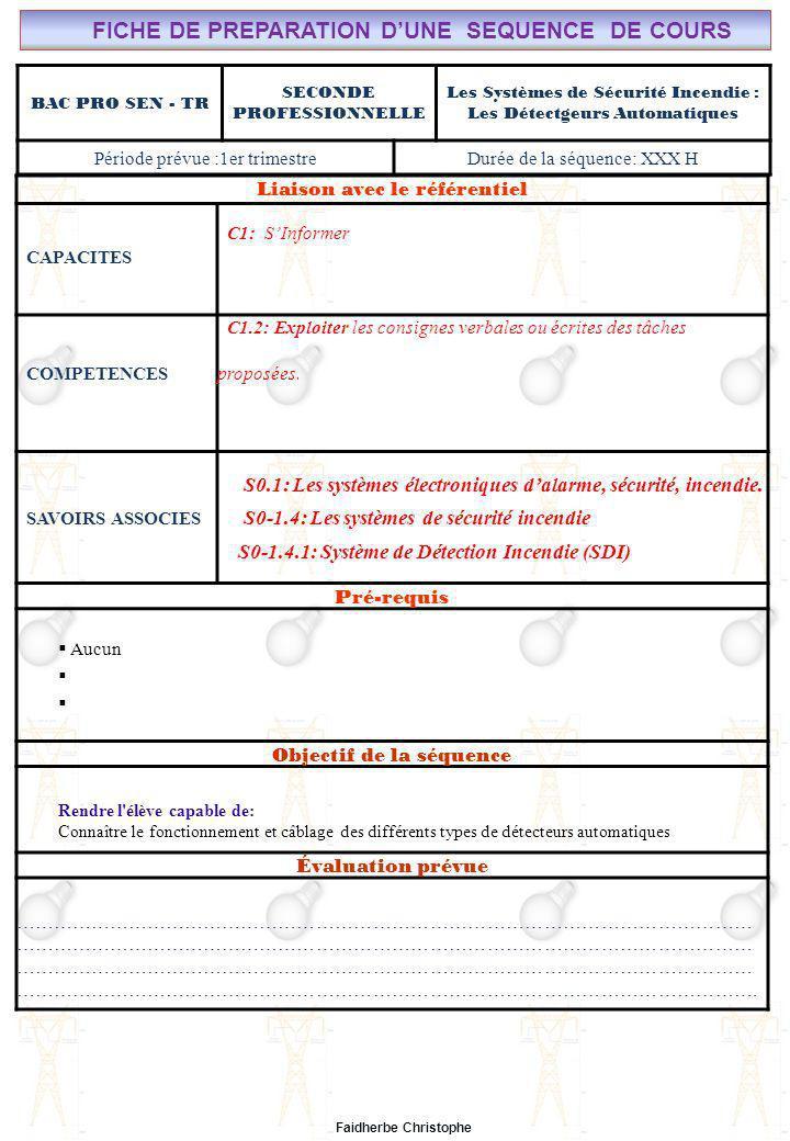 Page: 12/ 7 Cours n°16 – Systèmes de sécurité – Les Détecteurs Automatiques - FC Lycée Saint-Rémi, site Léonard de Vinci CHAMP PROFESSIONNEL: Alarme, Sécurité, Incendie Liaison avec le référentiel C7 BAC PRO SEN – TR COURS N°15: SYSTÈMES DE SECURITE INCENDIE : LE DECLENCHEUR MANUEL C6 C5 Seconde Professionnelle C4 S0: Les Systèmes Electroniques dAlarme, Sécurité, Incendie S0 -1.4: Les systèmes de sécurité incendie C3 C2 PAGE 4/5 C1 S0S1S2S3S4S5S6S7