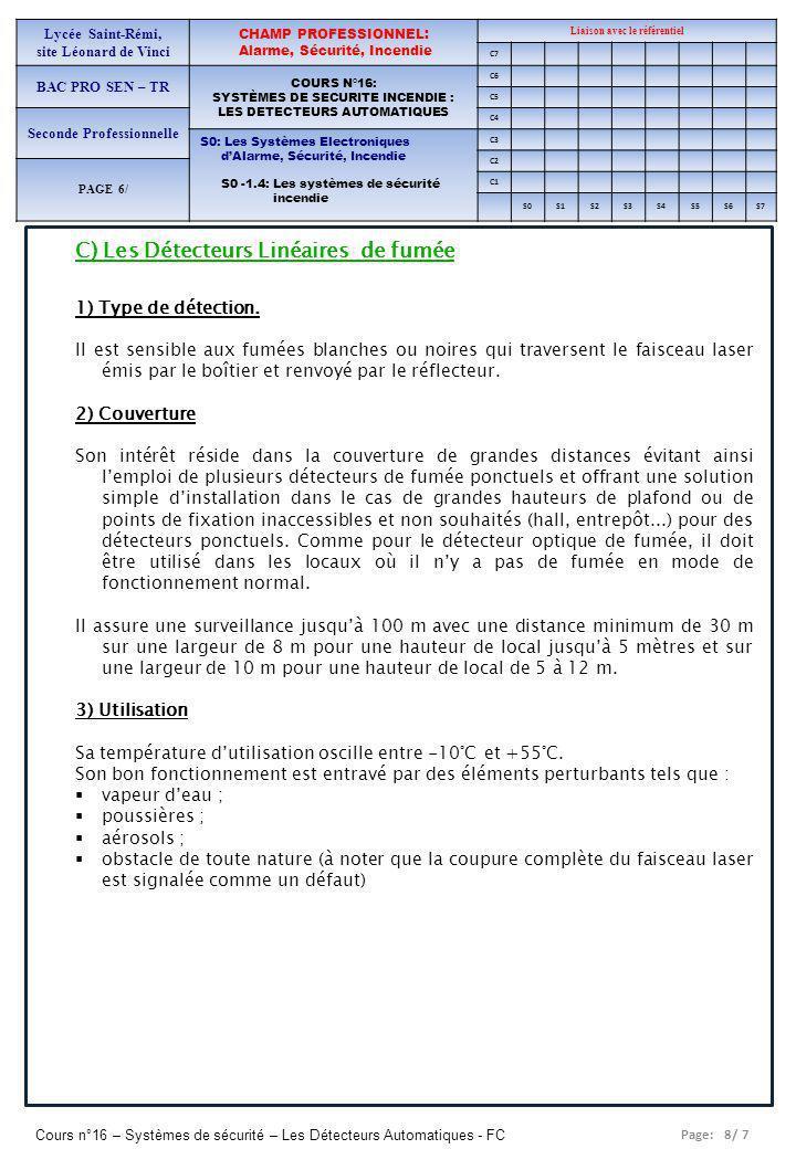 Page: 8/ 7 Cours n°16 – Systèmes de sécurité – Les Détecteurs Automatiques - FC Lycée Saint-Rémi, site Léonard de Vinci CHAMP PROFESSIONNEL: Alarme, Sécurité, Incendie Liaison avec le référentiel C7 BAC PRO SEN – TR COURS N°16: SYSTÈMES DE SECURITE INCENDIE : LES DETECTEURS AUTOMATIQUES C6 C5 Seconde Professionnelle C4 S0: Les Systèmes Electroniques dAlarme, Sécurité, Incendie S0 -1.4: Les systèmes de sécurité incendie C3 C2 PAGE 6/ C1 S0S1S2S3S4S5S6S7 C) Les Détecteurs Linéaires de fumée 1) Type de détection.
