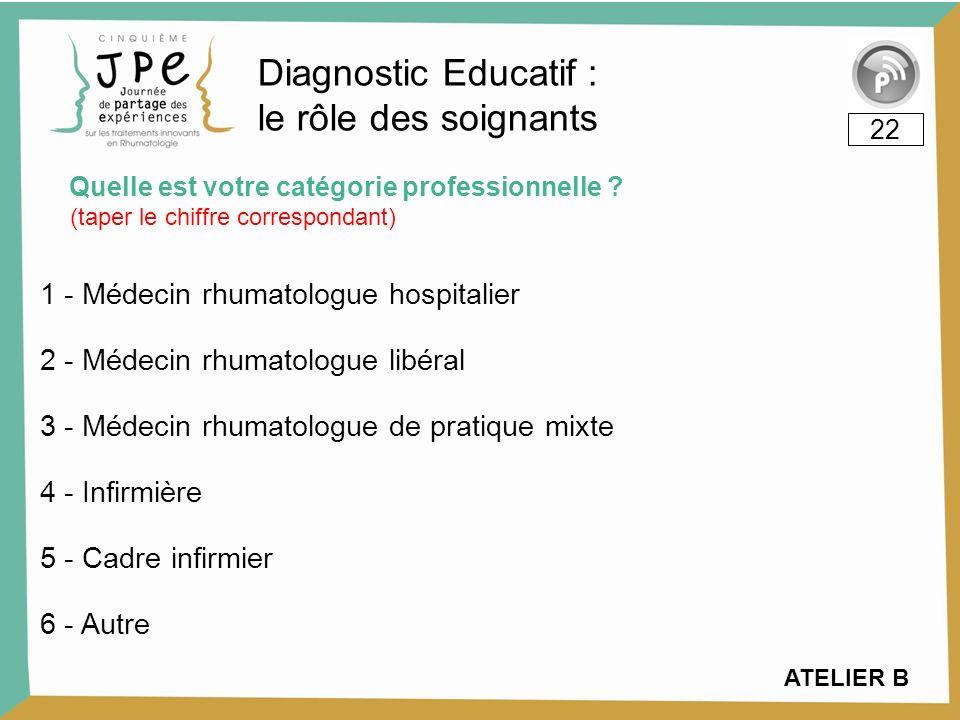 Quelle est votre catégorie professionnelle ? 22 Diagnostic Educatif : le rôle des soignants (taper le chiffre correspondant) ATELIER B 1 - Médecin rhu