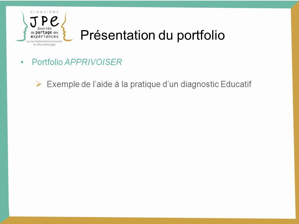 Portfolio APPRIVOISER Exemple de laide à la pratique dun diagnostic Educatif Présentation du portfolio