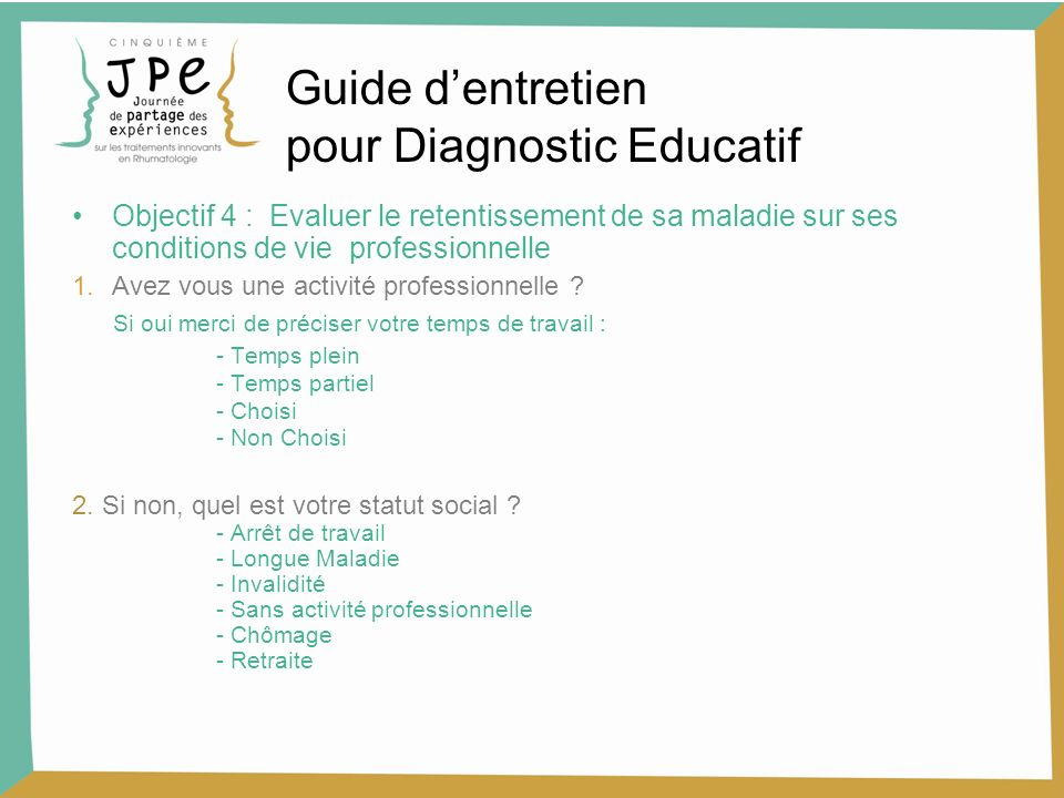 Objectif 4 : Evaluer le retentissement de sa maladie sur ses conditions de vie professionnelle 1.Avez vous une activité professionnelle ? Si oui merci