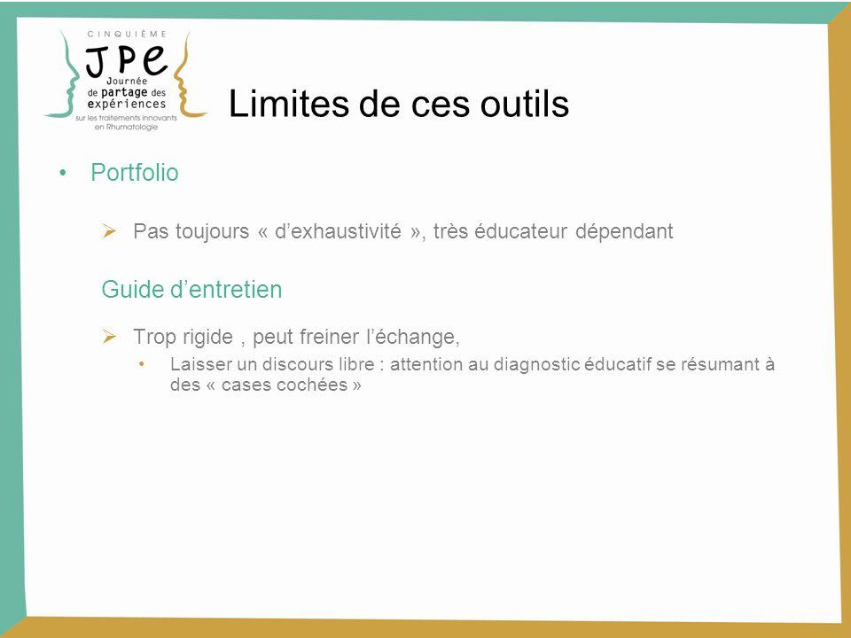 Limites de ces outils Portfolio Pas toujours « dexhaustivité », très éducateur dépendant Guide dentretien Trop rigide, peut freiner léchange, Laisser