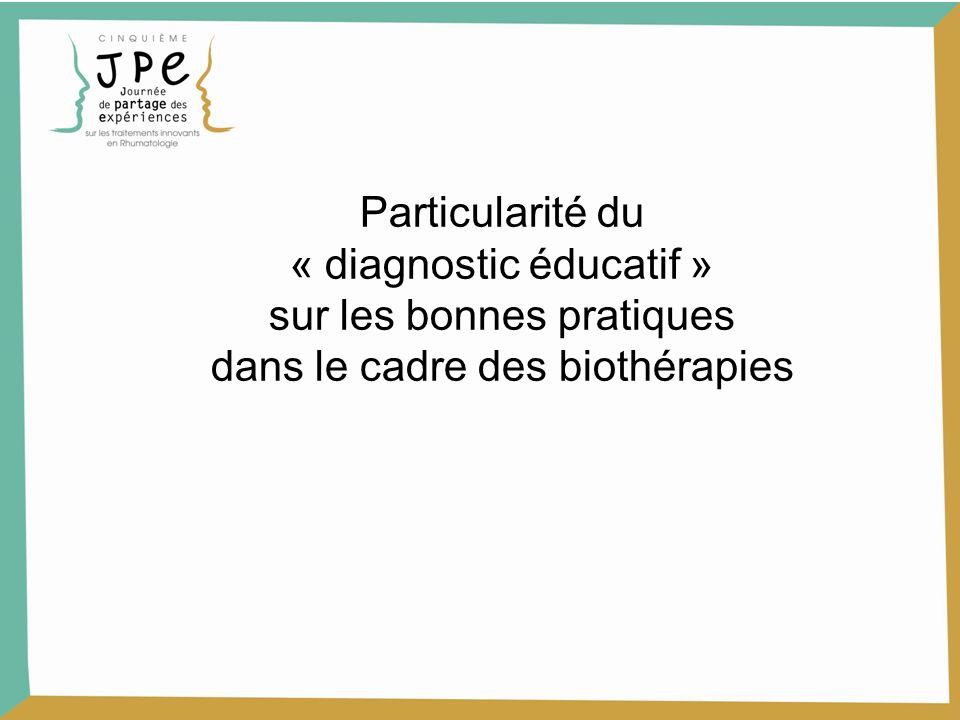 Particularité du « diagnostic éducatif » sur les bonnes pratiques dans le cadre des biothérapies