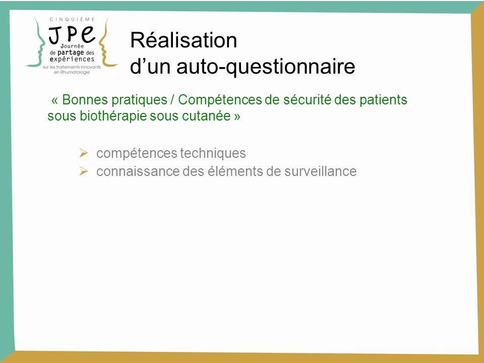 Réalisation dun auto-questionnaire « Bonnes pratiques / Compétences de sécurité des patients sous biothérapie sous cutanée » compétences techniques connaissance des éléments de surveillance