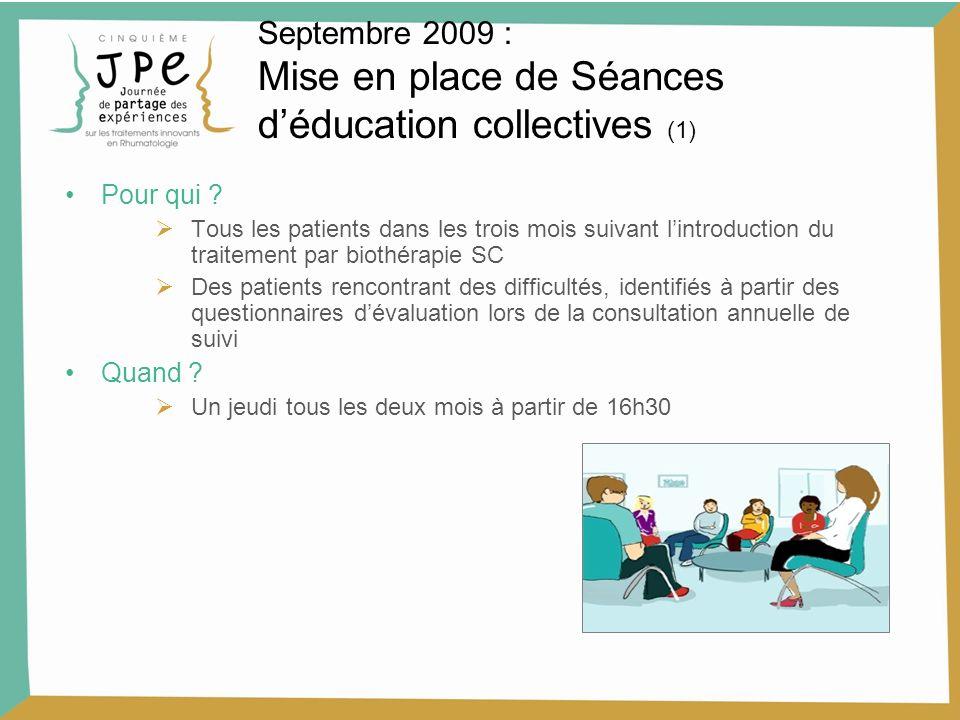 Septembre 2009 : Mise en place de Séances déducation collectives (1) Pour qui ? Tous les patients dans les trois mois suivant lintroduction du traitem