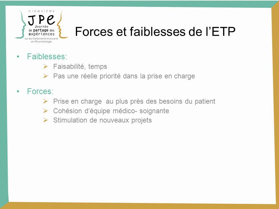 Faiblesses: Faisabilité, temps Pas une réelle priorité dans la prise en charge Forces: Prise en charge au plus près des besoins du patient Cohésion dé