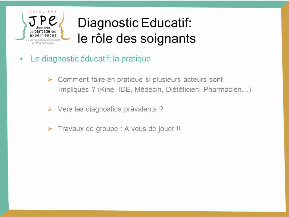 Le diagnostic éducatif: la pratique Comment faire en pratique si plusieurs acteurs sont impliqués ? (Kiné, IDE, Médecin, Diététicien, Pharmacien…) Ver