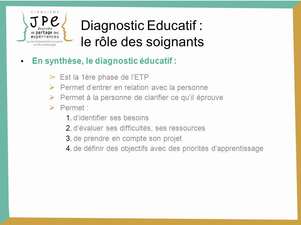Diagnostic Educatif : le rôle des soignants En synthèse, le diagnostic éducatif : Est la 1ère phase de lETP Permet dentrer en relation avec la personn