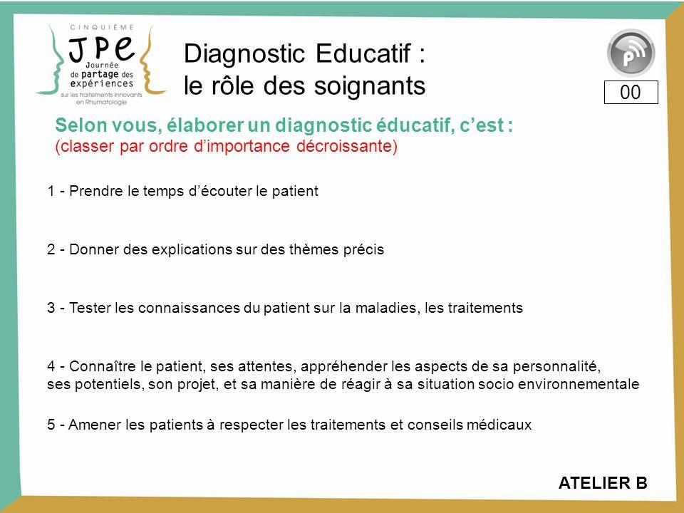 Selon vous, élaborer un diagnostic éducatif, cest : 00 1 - Prendre le temps découter le patient 2 - Donner des explications sur des thèmes précis 3 -
