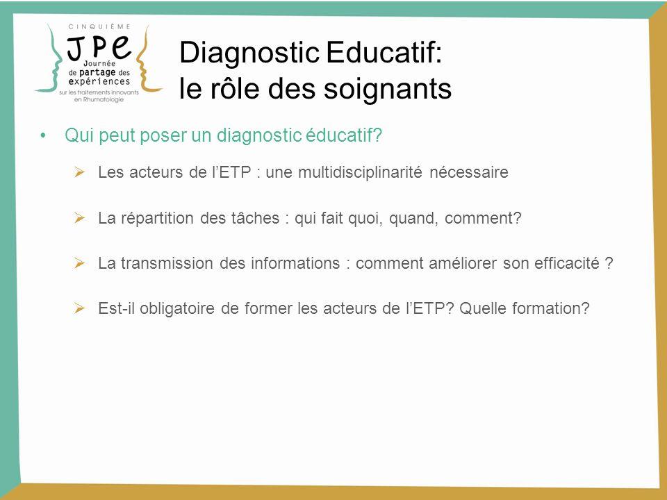 Qui peut poser un diagnostic éducatif? Les acteurs de lETP : une multidisciplinarité nécessaire La répartition des tâches : qui fait quoi, quand, comm