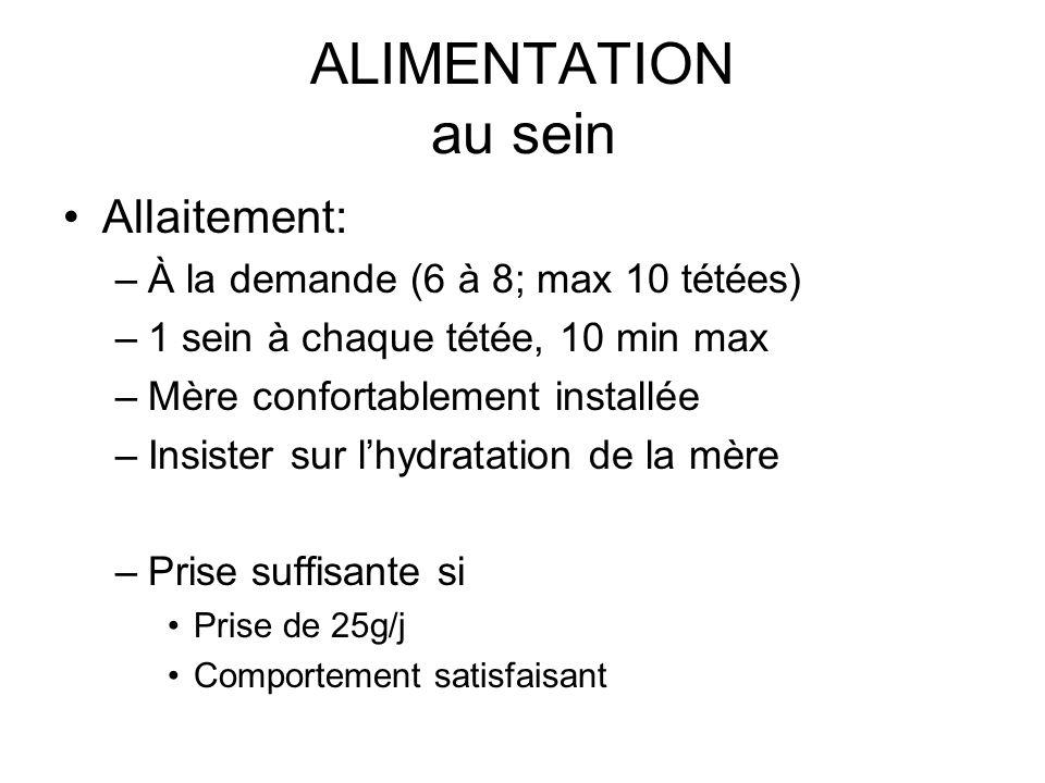 ALIMENTATION au sein Allaitement: –À la demande (6 à 8; max 10 tétées) –1 sein à chaque tétée, 10 min max –Mère confortablement installée –Insister su