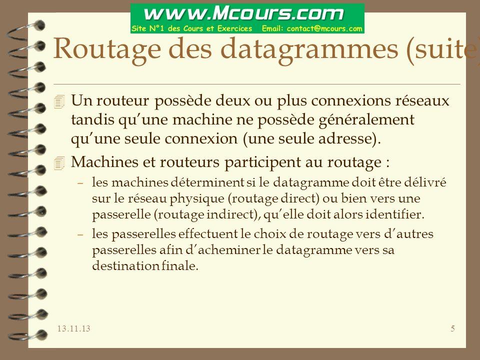 13.11.1326 Le sous-adressage (suite) 4 Lorsque le sous-adressage est ainsi défini, toutes les machines du réseau doivent sy conformer sous peine de dysfonctionnement du routage ==> configuration rigoureuse.