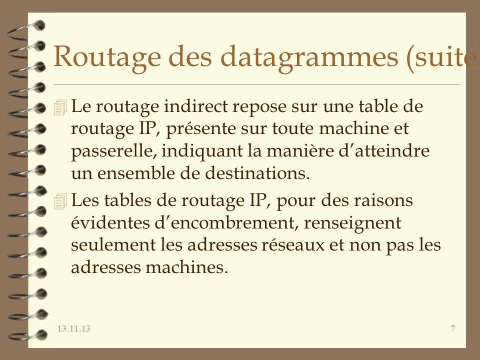 13.11.137 Routage des datagrammes (suite) 4 Le routage indirect repose sur une table de routage IP, présente sur toute machine et passerelle, indiquant la manière datteindre un ensemble de destinations.