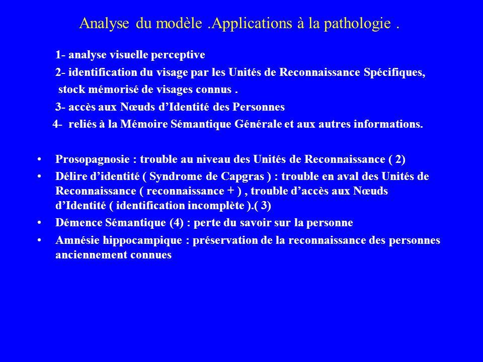 Analyse du modèle.Applications à la pathologie. 1- analyse visuelle perceptive 2- identification du visage par les Unités de Reconnaissance Spécifique
