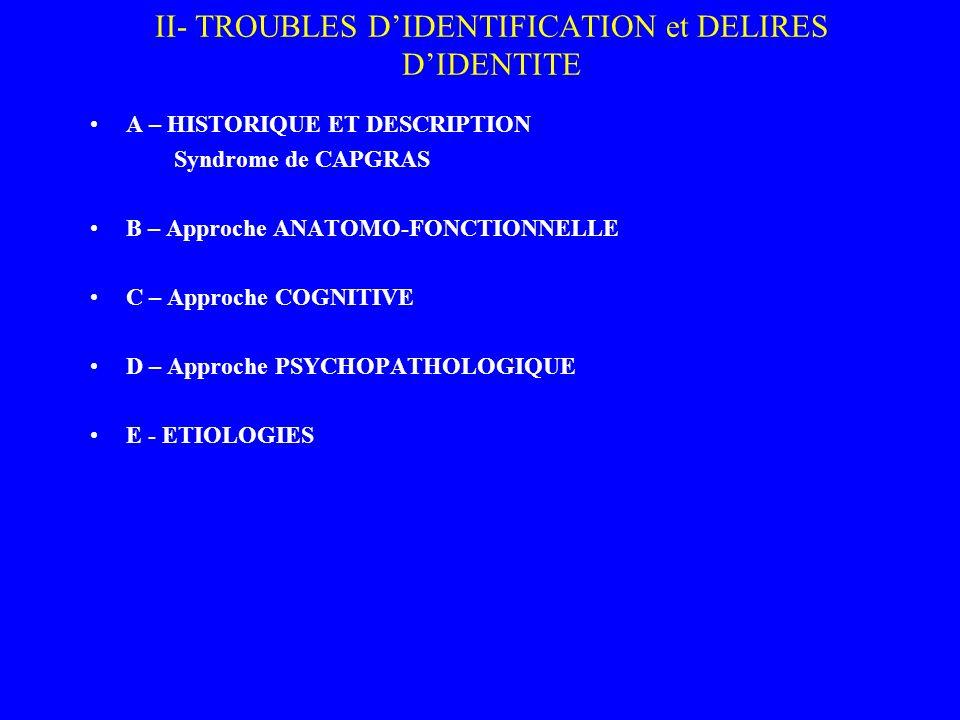 II- TROUBLES DIDENTIFICATION et DELIRES DIDENTITE A – HISTORIQUE ET DESCRIPTION Syndrome de CAPGRAS B – Approche ANATOMO-FONCTIONNELLE C – Approche CO