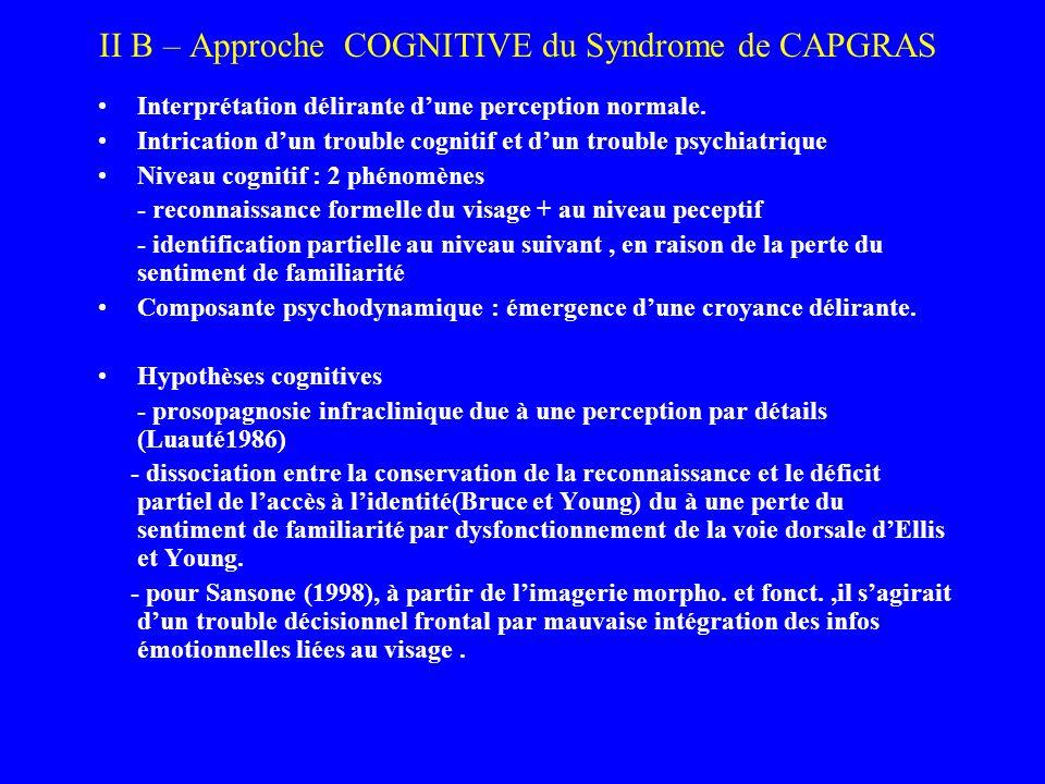 II B – Approche COGNITIVE du Syndrome de CAPGRAS Interprétation délirante dune perception normale. Intrication dun trouble cognitif et dun trouble psy