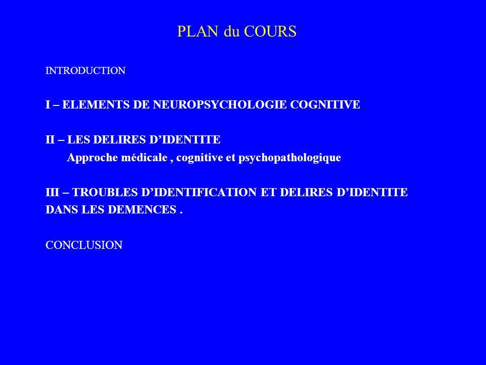 PLAN du COURS INTRODUCTION I – ELEMENTS DE NEUROPSYCHOLOGIE COGNITIVE II – LES DELIRES DIDENTITE Approche médicale, cognitive et psychopathologique II