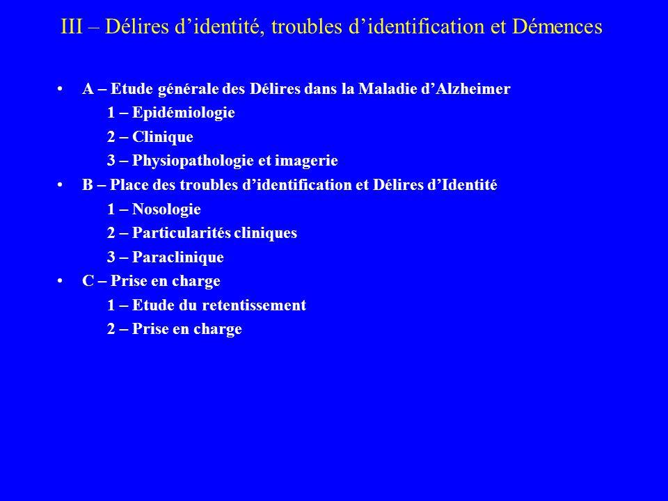 III – Délires didentité, troubles didentification et Démences A – Etude générale des Délires dans la Maladie dAlzheimer 1 – Epidémiologie 2 – Clinique