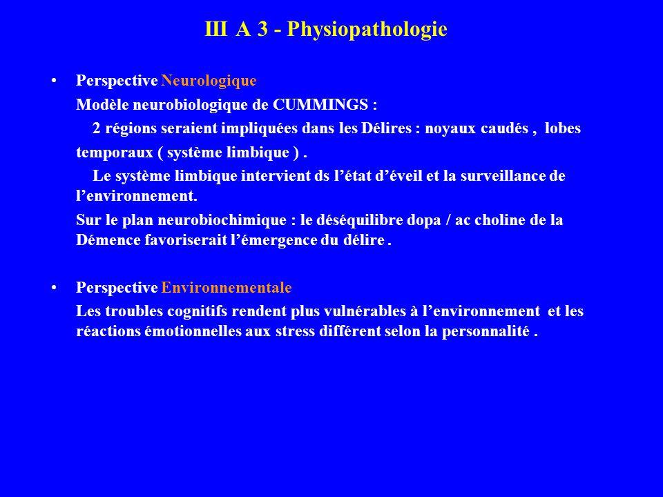 III A 3 - Physiopathologie Perspective Neurologique Modèle neurobiologique de CUMMINGS : 2 régions seraient impliquées dans les Délires : noyaux caudé