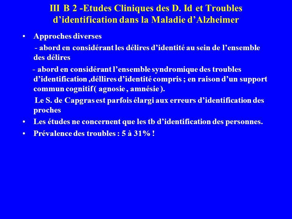 III B 2 -Etudes Cliniques des D. Id et Troubles didentification dans la Maladie dAlzheimer Approches diverses - abord en considérant les délires diden