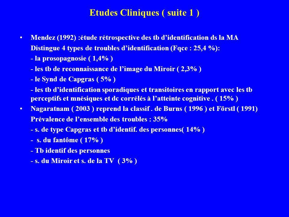Etudes Cliniques ( suite 1 ) Mendez (1992) :étude rétrospective des tb didentification ds la MA Distingue 4 types de troubles didentification (Fqce :