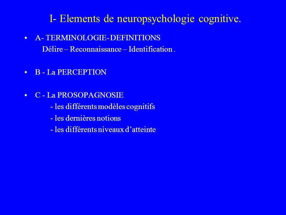 I- Elements de neuropsychologie cognitive. A- TERMINOLOGIE- DEFINITIONS Délire – Reconnaissance – Identification. B - La PERCEPTION C - La PROSOPAGNOS
