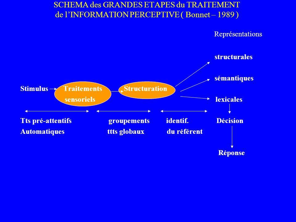 SCHEMA des GRANDES ETAPES du TRAITEMENT de lINFORMATION PERCEPTIVE ( Bonnet – 1989 ) Représentations structurales sémantiques Stimulus Traitements Str